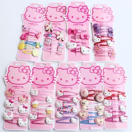 Wholesale Girl Princess Jewelry Set - New Korean Children Hair Jewelry Set Pink Hello Kitty Fruit Animal Hairclips Cute Princess Hairpins For Girls Kids Birthday Christmas Gift