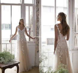 Wholesale Cheap Colorful Wedding Dresses - Champagne Illusion Lace 2017 Beach Wedding Dresses V-neck A-line Tulle Bridal Dresses Vintage Sexy Boho Wedding Gowns Backless Sequins Cheap