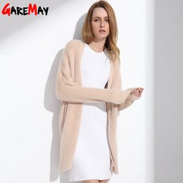 Wholesale Mink Knitting - Cardigan Women Warm Fluffy Sweater Fake Mink Cashmere Pink Long Cardigan Female Femme Knitting Tops For Woman Casual GAREMAY