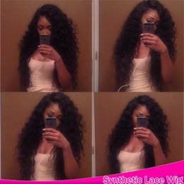 Wholesale Lace Wigs Curly Hair - New Sexy 14-26 Inches Lace Front Kinky Curly Synthetic Wigs with baby hair Heat Resistant American Kinky Curly Style Wigs for Black Women
