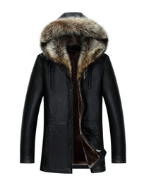 Wholesale Real Raccoon Fur Collar Black - Men Genuine Leather Jacket Winter Coats Real Raccoon Fur Collar Hooded Cashmere Tops Snow Outwear Overcoat Warm Thick outdoor Plus Size