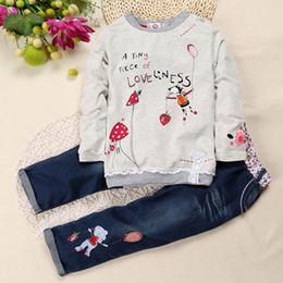 Wholesale Lolita Long - Autumn Winter Girl Clothes Infant Fashion Printing Girl Long Sleeve T-shirt+Jeans Cartoon 2pcs Set Children Clothing SKW-076