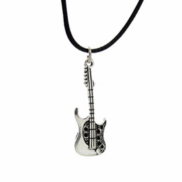 "vintage guitars Promo Codes - Wholesale-[$5 Minimum] 2015 New Hot Fashion Jewelry Vintage Silver Guitar Pendant 17"" Necklace DY68 Women Gift Wholesale Free Shipping"