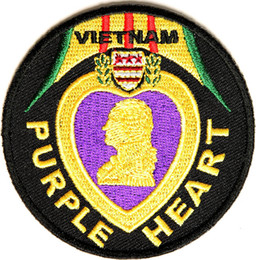 Wholesale Wholesale Vietnam - Hot Sale Free Shipping Custom Vietnam Purple Heart Patch Can be Sewing or Iron on backing badge