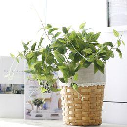 Wholesale fake flowers arrangements - 1PC Silk Plant Green Leaves Artificial Flower For Wedding Decoration DIY Wreath Gift Scrapbooking Craft Fake Flower Arrangement