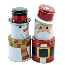 Wholesale Tin Gift Containers - Christmas decorations Santa Claus snowman three layers candy storage gift box wedding favor tin cand box cable organizer container household