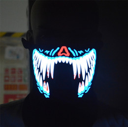 Wholesale Light Up Teeth - EL wire mask Light up Neon LED Mask for Halloween party Coplay Masks by 3V Steady on Driver sound controlled blue tooth XLL09