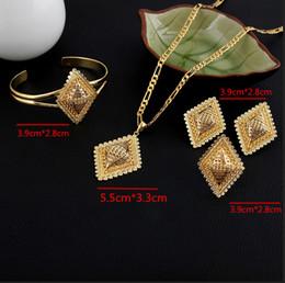 Wholesale Bridal Jewelry Set 24k - New Arrival Ethiopian Rhombus Bridal Wedding Women Jewelry Set 24k gold GF pendant bangle ring earrings