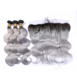 Wholesale Brazilian Hair Bundles Grey - 1B Grey Ombre Lace Frontal Closure With Bundles Body Wave 3 Pcs Brazilian Virgin Hair With Closure Grey Hair Weave With Frontal 13*4