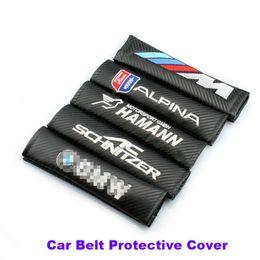 Wholesale wholesale car seat covers accessories - Practicality 2pcs lot pu carbon fiber Car Seat Belts Padding Cover Car Belt cover Seat Belts & Pad E60 E90 F10 F30 F15 E63 E64 E65 E86