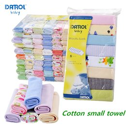 Wholesale Plain Baby Towels - 8 pieces lot Darol High quality Baby Small Towel Handker chief soft Cotton Cotton Fabric DR0024