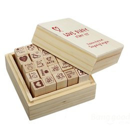 Wholesale Love Diary Stamp Set - Wholesale- New Pretty Useful 25Pcs set Antique Wooden signet with Boxes Love Diary Pattern Rubber Stamps Drawing Art