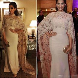Wholesale Islamic Muslim Wear - Sonam Kapoor in Paolo Sebastian High Neck Dubai Kaftan nude Lace Cape Muslim Evening Dress 2017 Islamic Arabic long sleeve prom Formal Gown