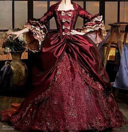 Wholesale olive green taffeta - Vestidos de 16 Anos Burgundy Puffy Quinceanera Dresses Vintage 3 4 Sleeve Bow Lace Formal Dresses 2017 Debutante Masquerade Dress Ball Gowns