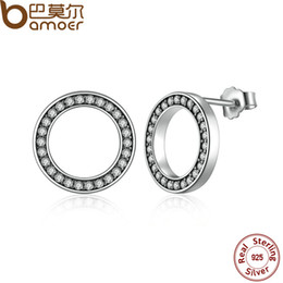 Wholesale Push Jewelry - BAMOER Forever, Clear CZ 925 Sterling Silver Circle Push-back Femme Stud-Earrings Fine Jewelry Boucle d'oreille bijoux PAS437