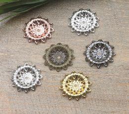 Canada 07261 21mm bronze antique argent bronze pistolet en or rose noir filigrane fleur charmes pour la fabrication de bijoux, mélanger perle chapeau collier pendentifs pour bracelet Offre