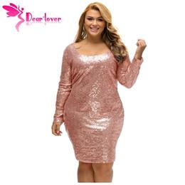 Wholesale dear dress - Dear-Lover Winter Office Ladies Party Dress Autumn 2017 Champagne Sequin Plus Size Long Sleeve Dress Vestido Lentejuelas LC61423 17410