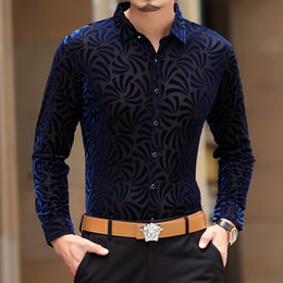Wholesale Silk Mens Long Shirt - Wholesale- 2016 Mens See Through Shirts Black Velvet Shirts Transparent Camisas Hombre Vestir Silk Shirts Flowers Club Dress Chemise Homme