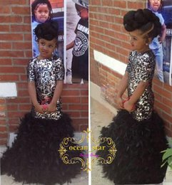 Wholesale Gold Sparkly Shirt - Black Mermaid Girls Pageant Dresses Sparkly Bling Sequins Ruffles Feather Crew Neck Short Sleeve 2017 Kids Formal Dress Flower Girl Dresses