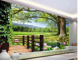 2019 luxus wandmalerei Luxus europäischen modernen HD 3D Baum Landschaft Hintergrund Wandbild 3D Wallpaper 3D Tapeten für TV-Hintergrund günstig luxus wandmalerei