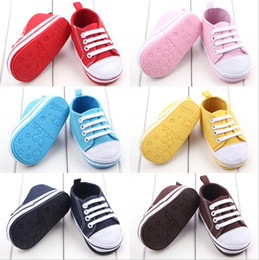 Wholesale White Canvas Baby Girl Shoes - 2017 new hot Infant Toddler Baby Boys Girls Soft Non-slip Sneakers Trainers Shoes from Newborn to 24 Months 14081226