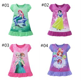 Wholesale Snow White Mermaid - Summer girls dresses Elsa Anna Mermaid Sofia Snow White Minnie kids pajamas polyester nightgowns sleepwear clothes 3~10T
