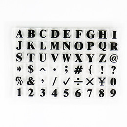 Wholesale Stamped Letters Numbers - Wholesale- letter number design clear rubbers stamps size 15x10cm sheet 26alphabets 4 design