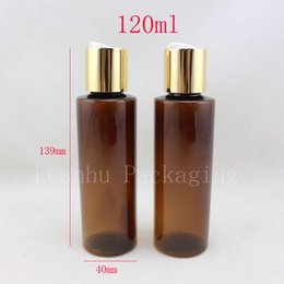 Wholesale Gel Bottle Caps - Wholesale- 50pc lot 120ml empty brown plastic shampoo bottles with gold screw caps,120g empty essential oils cosmetic packaging shower gel