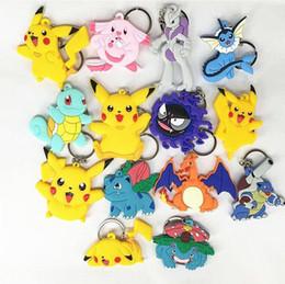 Wholesale Toy Car Backpack - Poke Figures Keychains Toys 22 Styles Kids Pikachu Sylveon Charmander Bulbasaur Jeni Turtle Keychains Keyring Backpack Pendant