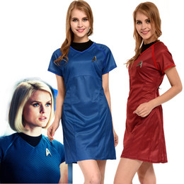 Wholesale Movie Stars - Kukucos Movie Figure Star Trek Into Darkness Marcus Blue Dress Cosplay Costume Womens Summer Dress Sexy Suit