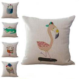 Wholesale Carton Shipping - Carton Owl Crocodile Flamingo Pillow Case Cushion cover Linen Cotton Throw Pillowcases Sofa Cars Decorative Pillowcover free shipping