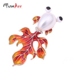 Wholesale Scarves For Wedding Dresses - Wholesale- MloveAcc Lovely Animal Brooches Enamel Goldfish Brooch Simulated Pearl Wedding Scarf Pin for Women Dress Accessories Collar Clip