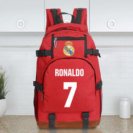 Wholesale College Sport Teams - landy house 2017 foottball team Real Madrid casillas ronaldo football club computer backpack shcool bags sports backpack team Souvenirs