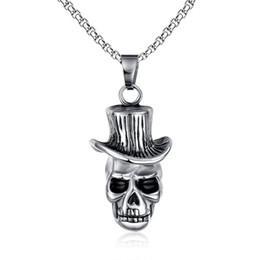 Wholesale Roll Slide - Men's Skull Wind Hat Gentleman Rock & Roll Cowboy Pendant Necklace Stainless Steel Vintage Punk Halloween Jewelry with 24inch PN-146