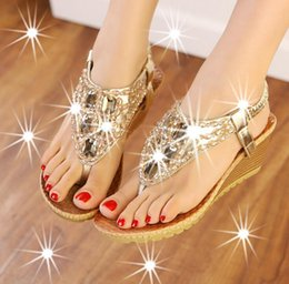 Wholesale Sexy Rhinestones Wedges - 2017 Summer Wedges Sandals With Rhinestone Crystal Female Fashion Sexy Bling Platform Flip Flops Casual Shoes Woman