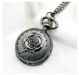 Wholesale Rose Pocket Watch - Wholesale-New Arrive Small Size Black Rose Quartz Men Women Pocket Watch With Chain For Xmas Gift High Quality PS446