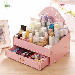 Wholesale Desktop Diy Storage Boxes Organizers - YIHONG Fashion Desktop Cosmetic Women DIY Storage Boxes Lovely Gril Organizer Make Up Lipstick Storage Powder Box