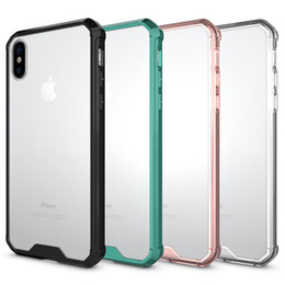 Wholesale Clear Iphone Backing - For Iphone x Case Luxury Soft TPU Bumper + Clear Hybrid Back Cover Case For Iphone X 8 8plus