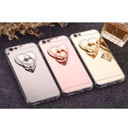 Wholesale Heart Phone Holder - Luxury Rotatable Love Heart Shape Crystal Metal Ring Holder Hook Finger Grip Stand Mount Universal For All Mobile Phone