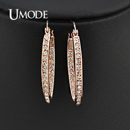 Wholesale Rose Gold Oval Hoop Earrings - Wholesale- UMODE Rose Gold Color Rhinestones Studded Oval Hoop Earrings For Women JE0194A