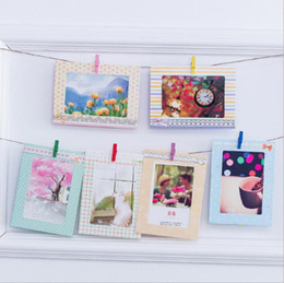Wholesale Wooden Photo Frame Albums - hotsale home decorations 8pcs set 6 inch cute cartoons bow wall hanging paper photo frame picture album kraft paper card holder wooden clips