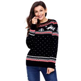 Wholesale Printing Color Codes - woman clothing Black Christmas Reindeer Knit Sweater Winter Jumper new season big code printed sweaters round neck long sleeve turtleneck