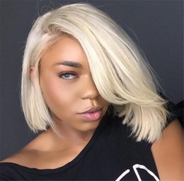 Wholesale Gluless Full Lace Wigs - Full Lace Human Hair Wigs Blonde #613 Chinese Remy Hair Straight Transparent Lace Gluless Cap for Black White Women