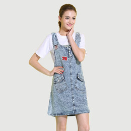 af216132b7d 2017 New Arrival Women Above Knee Denim Strap Dresses for Ladies Casual  Vintage Dark Blue Sleeveless Jean Dress Female Clothing