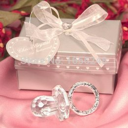 Wholesale Wholesale Crystal Pacifiers Favors - Wholesale-Wedding Favour Baby Shower Favors Crystal Collection Cute Crystal Pacifier Gift Favor