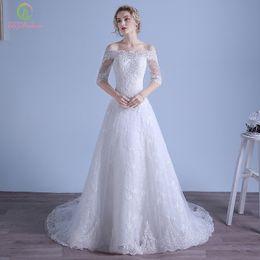 Wholesale Vintage Slim Line Wedding Dresses - 2017 Plus Size Country Lace Wedding Dresses White bateau Half Sheer Sleeves Slim Sexy Sweep Train Long A-line Wedding Gowns Vestido De Novia