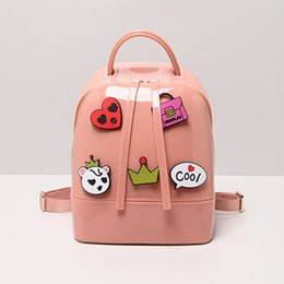 Wholesale Yellow Jelly Bags - Wholesale-2016 Summer New 10 Korean Style Candy-colored Cartoon Jelly Bag Women's Casual Multifunction Shoulder bag free shipping