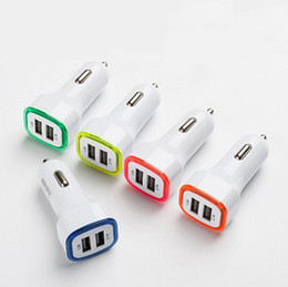 Wholesale Lights Adapter For Car - Rocket Design LED light 5v 2a Dual USB Car Charger adapter For iPhone 6 7 Samsung Universal coche de Cargador