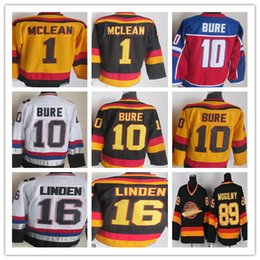 480f1ed2658 Vintage 1 Kirk Mclean 10 Pavel Bure 16 Trevor Linden 89 Alexander Mogilny  Black White CCM Retro Vancouver Heritage Canucks Hockey Jerseys