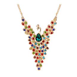 Wholesale Peacock Diamond Necklace - 2017 new Luxury Gold Color Peacock Design Multicolor Created Diamond Necklace for Wedding Women Wholesale free shipping